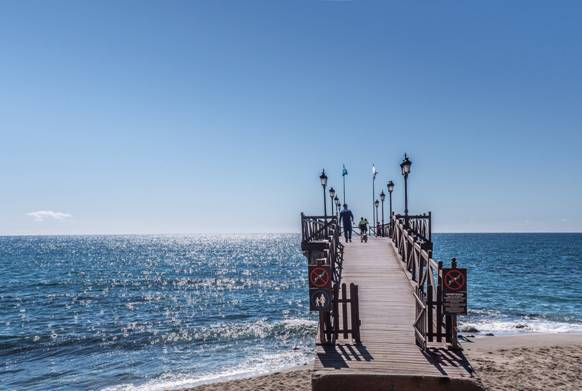 Not a cloud in the sky above the jetty of the Marbella Club in Malaga. Costa del Sol weather at its best.